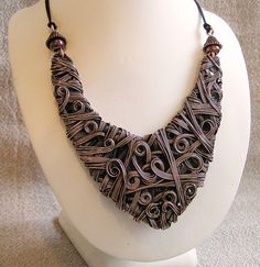 Larp Copper Tribal Woven Necklace by Amanda Burton of Wire Moon