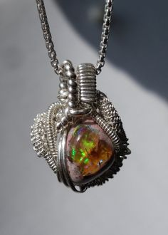 Mexican Opal Heady Wire Wrapped Pendant 925 by 3rdEyeVisions, $115.00