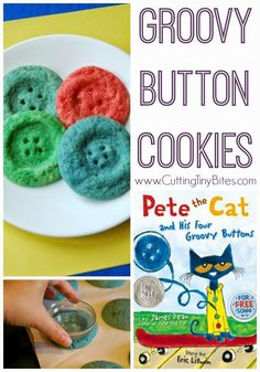 Groovy Button Cookies inspired by Pete the Cat and His Four Groovy Buttons by James Dean and Eric Litwin. Fun snack for preschool or kindergarten! Make in salt dough form and turn into ornaments with ribbons. Preschool Snacks, Preschool At Home, Preschool Activities, Preschool Schedule, Pete The Cat Buttons, Button Cookies, Pete The Cats, Cat Activity, Activity Ideas