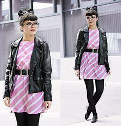 Kendall Kay - Vintage 80s Mini Dress, Forever 21 Moto Jacket, Vintage Oversized Belt - .Pity Party~CRYBABY.
