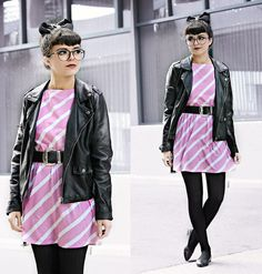 Kendall Kay - Vintage 80s Mini Dress, Forever 21 Moto Jacket, Vintage Oversized Belt - .Pity Party~CRYBABY.
