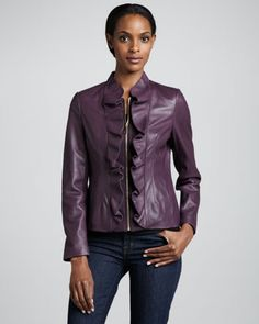 Kendrick Ruffle-Front Leather Jacket by Elie Tahari at Neiman Marcus.