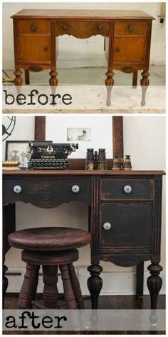 fleaChic: flea market savvy  -  Before A vanity  - After A painted and distressed desk with an antique piano stool. Very nice!!