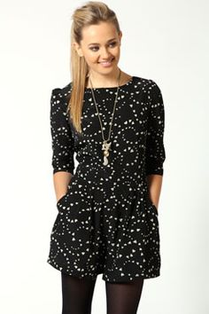 4f755d7e74a Georgia 3 4 sleeve Heart Print Playsuit at boohoo.com Boohoo Playsuit