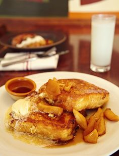nopa: featured dishes | custard french toast, maple butter and caramelized apples