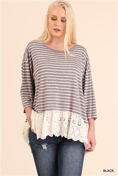 7b2288c7b6 UMGEE Plus Striped Knit Top with Lace in Light Blue. This soft washed mauve  colored basic tee is a fashionable twist on the classic tee shirt XL