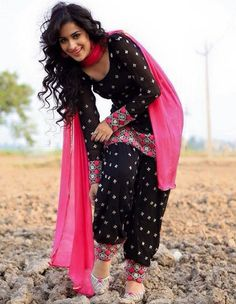 Black Cotton Embroidered Patiala Salwar Suit