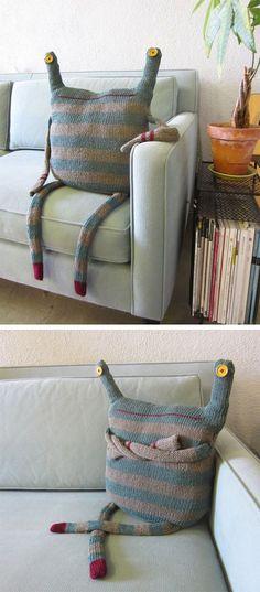 """Sweater dress """"beast"""" pillow (add zippered pouch mouth)"""