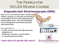 Diagnostic test: Electromyography (EMG). Done to assess the electrical activity and determine whether symptoms are primarily musculoskeletal or neurological.  May be used in diagnosing ALS and myasthenia gravis. Also used to determine nerve entrapment for carpal tunnel syndrome and herniated disk. BrainyNurses.com