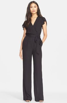 Free shipping and returns on Diane von Furstenberg 'Kacey' Jumpsuit at Nordstrom.com. A wrap detail in front creates an elegant V-neckline on a glamorous silk-blend jumpsuit framed with fluttering cap sleeves. Streamlined pants topped with a tie-waist detail complete the chic silhouette.