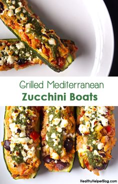 Grilled Mediterranean Zucchini Boats for National Zucchini Day! from Healthy Helper Blog