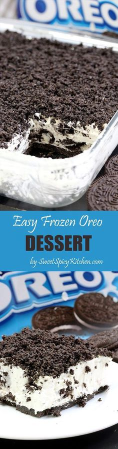 This Easy Frozen Oreo Dessert is light, frozen summer dessert… so easy to prepare – just perfect for Oreo cookie fans
