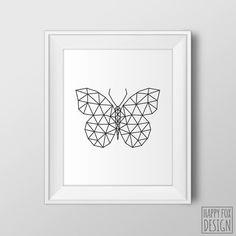 Geometric Butterfly Art, Modern art, Printable, Minimalist decor, Black and white, Geometric wall art, Butterfly wall art, Home decor