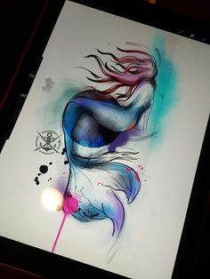 Mermaid tattoo watercolor