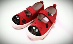 Hand Painted Ladybug Toddler Shoes with glitter by sweetfeetbybrit, $28.00