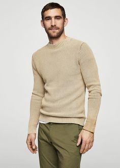 Knit cotton sweater | MANGO MAN