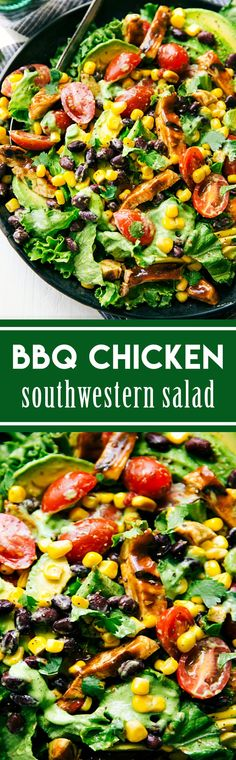 A simple-to-make grilled BBQ chicken salad with a healthy avocado-cilantro dressing and lots of fresh veggies!