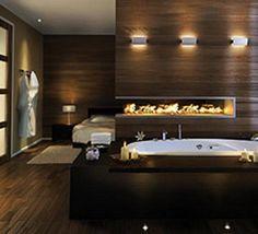 Small master bedroom and bathroom ideas master bedroom and bathroom designs small master bedroom bathroom designs Spa Bathroom Design, Cozy Bathroom, Master Bedroom Bathroom, Modern Master Bathroom, Master Bedroom Design, Bathroom Ideas, Bathroom Fireplace, Wooden Bathroom, Fireplace Wall