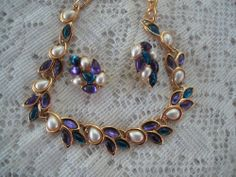 TRIFARI NECKLACE AND EARRINGS Purple Green Pearl Estate Jewelry