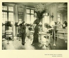 bumble button: Buying Hats in Paris Salon in 1910. Free Edwardian Photographs for instant art, ATC, Greeting cards