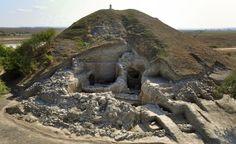 Excavated stone walls near Provadia, Bulgaria.