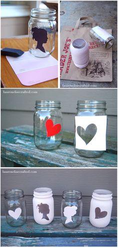 Faça Você Mesmo - Potes de vidro decorados com silhueta