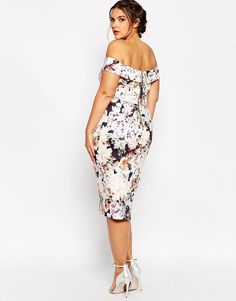 Image 2 of ASOS CURVE WEDDING Bardot Floral Off Shoulder Pencil Dress
