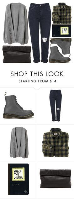 """DR. MARTENS"" by strayalley ❤ liked on Polyvore featuring Dr. Martens, Topshop, Woolrich, Urban Outfitters, Marie Turnor and DrMartens"