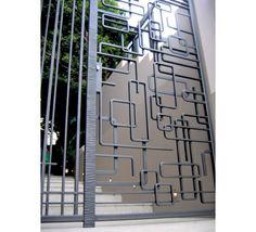 "Képtalálat a következőre: ""modern wrought iron"" Wrought Iron Security Doors, Wrought Iron Fences, Wrought Iron Doors, Security Gates, Security Screen, Window Grill Design Modern, Modern Fence Design, Modern Gates, Gate Design"