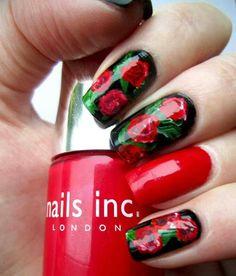 Rose nail art.
