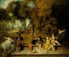 Pleasures of Love, Jean-Antoine Watteau, 1718/19. Gemäldegalerie Alte Meister, Staatliche Kunstsammlungen Dresden