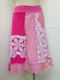 Recycled Upcycled Cotton Skirt Pink Patchwork by danamurphydesigns, $46.00