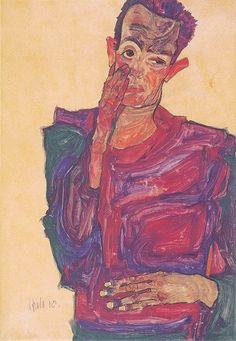 Egon Schiele: Self-Portrait with Eyelid Pulled Down, Fine Art Print/Poster. Gustav Klimt, Franz Kline, Alphonse Mucha, Henri Matisse, Albertina Wien, Karl Schmidt Rottluff, Willem De Kooning, Jean Michel Basquiat, Poster Prints