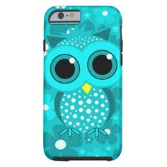 turquoise flowers and cute owl
