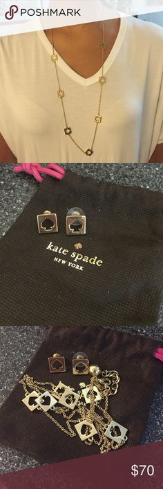 Kate Spade Necklace and matching Earrings Long gold necklace with matching earrings. Firm in price! kate spade Jewelry Earrings
