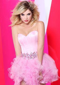 Ashley Benson in this SUPER CUTE Strapless Barbie Pink Short Prom Dress - Prom Dresses Online - Faviana 7189 - thepromdresses.com