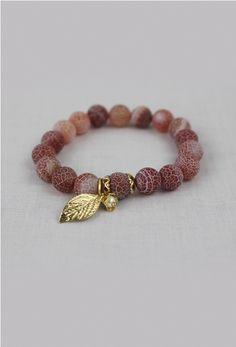 Perla Golden Leaf Bracelet in Pink