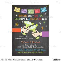 Mexican Fiesta Rehearsal Dinner Chalkboard 5x7 Paper Invitation Card
