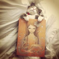 One of my favourite artists and to satisfy the crazy cat lady in me, there is an adorable kitty :) love this