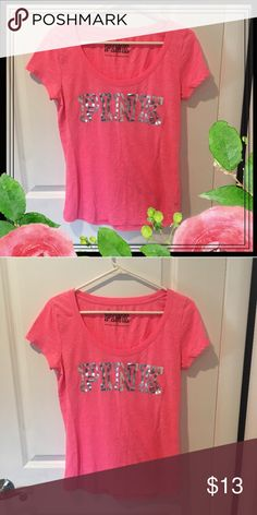 Victoria's Secret PINK shirt Victoria's Secret PINK TSHIRT. Color is a orangey hot pink. Perfect shirt for lounging around or an everyday casual look! 💕 PINK Victoria's Secret Tops Tees - Short Sleeve