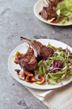 Seared Baby Lamb Chops with Fig-Balsamic Pan Sauce