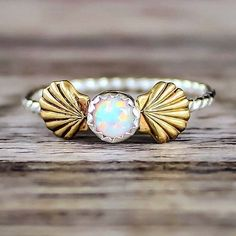 Mermaid Sea Shells and Opal Ring Available in our 'Mermaid' Collection www.indieandharper.com