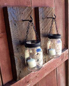 Rustic barn wood mason jar candle holders. on Etsy, $38.00