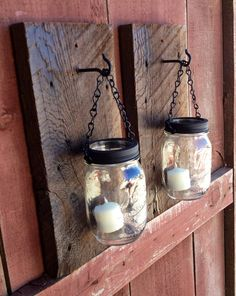 Rustic barn wood mason jar candle holders. on Etsy, $38.00