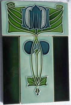 Nice small Art Nouveau tile panel from Minton Hollins c1905/6 ,it seldom found complete they are split and sold separately.I will always swap or sell complete.