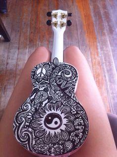 sharpie on white ukulele? Just another reason why i want a ukulele Ukulele Art, Guitar Art, Cool Guitar, Luna Ukulele, Guitar Chords, Hipsters, Painted Ukulele, Painted Guitars, Ying Y Yang