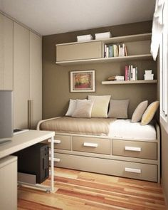 Warm Small Room for Bed Ideas with Bookcase