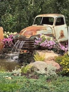 Image may contain: plant, car and outdoor Ponds Backyard, Backyard Landscaping, Rustic Gardens, Outdoor Gardens, Rustic Garden Decor, Diy Garden Fountains, Water Fountains, Deco Originale, Water Features In The Garden