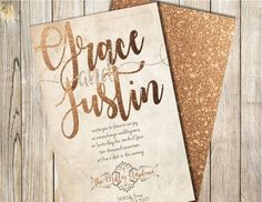 Vintage Gold Wedding Invitation, Vintage Wedding Invitation, Wedding Invitation, Gold Wedding Invitation, Glitter Wedding Invitation Rose Gold Accessories, Glitter Wedding Invitations, All Fonts, White Envelopes, All The Colors, Your Cards, Invites, Thank You Cards, Special Events