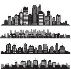 벡터 도시 실루엣과 건물의 집합 — 스톡 일러스트 #41518999